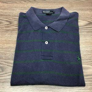 Polo Ralph Lauren Navy & Green Stripe Polo Shirt L